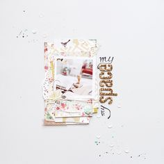 love this traditional scrapbook layout with gold alphas and pastel accents