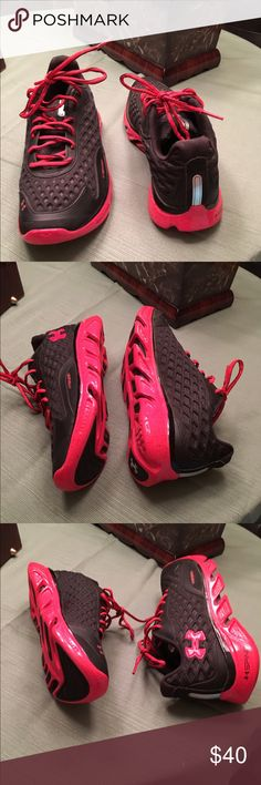 Under Armor Spine RPM Sport Tennis Shoe Black with Red Accents and Shoe Strings. Worn once. Perfect Condition as shown in pictures. Size 6 Youth fits like woman size 7 Under Armour Shoes Sneakers