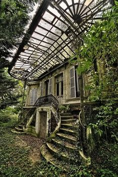 if you want to find me then look for abandoned house surrounded by big garden where I grow my flowers, wear only lace dresses, bake cookies and cakes drink lots of wine and dance under the Hozier and. Abandoned Buildings, Abandoned Mansions, Old Buildings, Abandoned Places, Abandoned Library, Abandoned Castles, Beautiful Buildings, Beautiful Places, This Old House