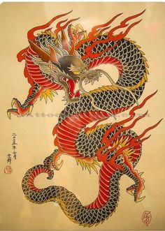Japanese style yakuza dragon motif