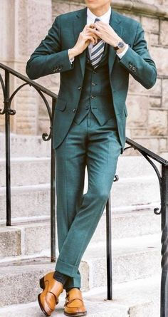 49 Ideas For Fashion Mens Formal Wedding Suit Styles Green Wedding Suit, Best Wedding Suits, Wedding Suit Styles, Tuxedo Wedding, Wedding Men, Formal Wedding, Wedding Groom, Trendy Wedding, Wedding Tuxedos