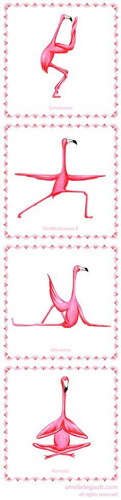 Four Pink Flamingo yoga prints, flamingo yogis