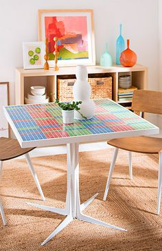 Turn small tiles into a bold pattern you'll enjoy every time you seat yourself at this DIY table. Select tile colors to coordinate with your space.