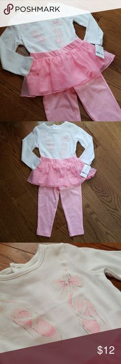 Carter's Baby Girl Ballet 2-piece Outfit NWT Perfect for the future dancer! White body suit accented with glittery ballet shoes paired with pink and white stripped pants with attached tutu. New with tags attached $20 Thanks for looking and happy shopping! Carter's Matching Sets