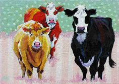 Cow Painting, Cow Print, Christmas in July, Cowgirls Pastel Polka Dots & Stripes,Cow Art Print 5 x 7 Jemmas Gems