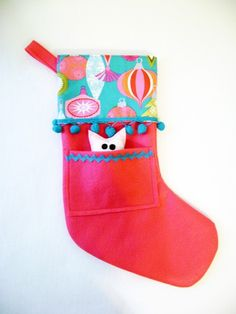 Felt Christmas Stocking  Pocket Peeper Owl Jingle by RedMarionette, $35.00