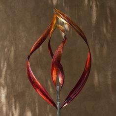 FLAME 2 -ORANGE FUSION PATINA - Mark White, kinetic art