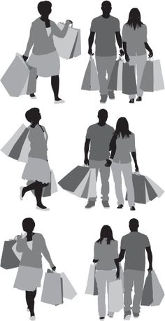Vectores libres de derechos: Silhouette of people with shopping bags