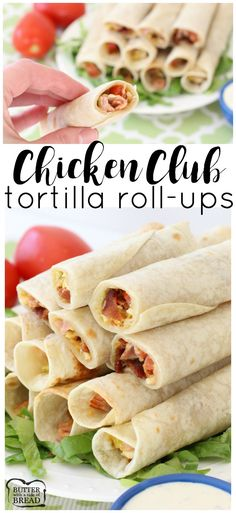Chicken Club Tortilla Roll-Ups - easy recipe for flavorful, delicious cheesy chicken bacon rollups! Perfect game day appetizer from Butter With A Side of Bread AD #gotortillaland #partyfood