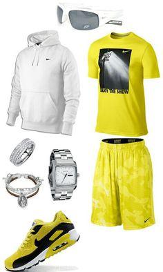 Yellow white nike outfit