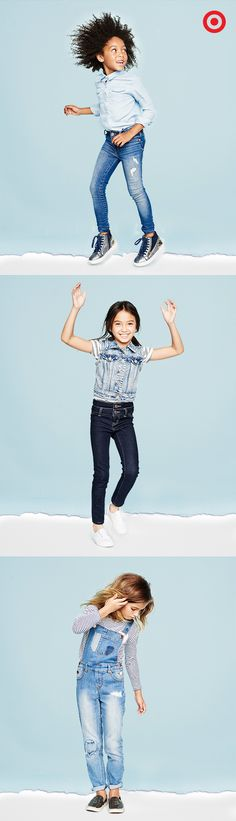 Can't go wrong with denim, even if it's with more denim! From skinny jeans to overalls, vests to shirts, denim is a definite must-have for back to school outfits. This denim is extra soft and stretchy too, so girls will look great and feel great too.