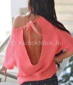 Стильный пуловер с разрезом на спинке | Вязание для женщин | Вязание спицами и крючком. Схемы вязания.