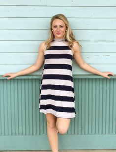 { Navy Stripe High Neck Dress }