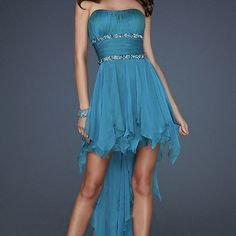 Charming sweetheart chiffon high-low prom dress / homecoming dress - blue