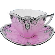 Shelley Queen Anne Pink teacup duo, black medallion