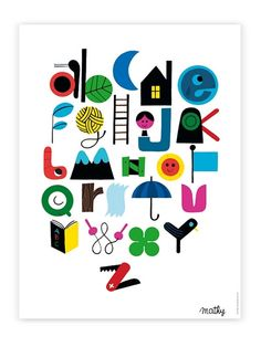 This beautiful ABC Poster is made by belgian Illustrator Vincent Mathy