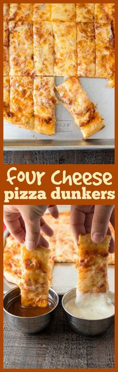 Four Cheese Pizza Dunkers – Homemade pizza layered with mozzarella, asiago, provolone, and parmesan cheese and then cut into Rectangles. They're perfect for dipping in your favorite sauces! #pizza #cheese #easyrecipe