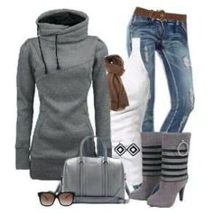 Hot Gray and Jeans Outfit