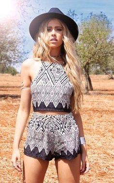 high neck Aztec style co-ord, perfect for festival chic or a summer daytime style