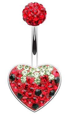Strawberry Heart Sparkling Belly Button Ring - 14 GA (1.6mm) - Sold Individually - Size: 14 GA (1.6mm) - Color: Red - Sold Individually - Comes in a box - Satisfaction Guaranteed
