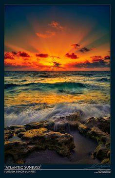 Sunrise at Florida Beach Over the Atlantic Ocean