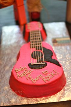 Born to Rock Baby Shower Pink and Black Guitar Cake