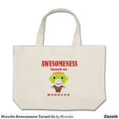 Shop Morocko Awesomeness Turned On Large Tote Bag created by Morocko. Cute Monkey, Totes, Reusable Tote Bags, Birthday, Awesome, Fun, Gifts, Collection, Handbags