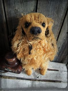 Cocker spaniel. Teddy dog.  Teddy bear. Artist bears. Stuffed animal by photo. Pets