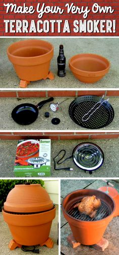 DIY Clay Pot Smoker - Expolore the best and the special ideas about Smokers Clay Pot Crafts, Diy Clay, Shell Crafts, Diy Smoker, Homemade Smoker, Cute Diy Projects, Project Projects, Clay Pots, Outdoor Cooking
