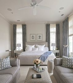 Example Of A Large Transitional Master Bedroom Design In Charleston With White Walls And Carpet Like Gray White Pale Blue Bedroom Colors Blue Furniture, Bedroom Furniture, Bedroom Decor, Bedroom Curtains, Best Bedroom Colors, Blue Bedroom, Large Bedroom, Motherinlaw Suite, Master Bedroom Design
