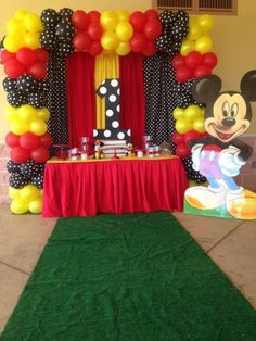 Check out this fun Mickey Mouse Birthday Party! See more party ideas and share yours at CatchMyParty.TONS of Mickey Mouse Party Ideas via Kara's Party Ideas KarasPartyIdeas. Mickey Mouse Birthday Decorations, Theme Mickey, Mickey 1st Birthdays, Fiesta Mickey Mouse, Mickey Mouse First Birthday, Mickey Mouse Clubhouse Birthday Party, Mickey Mouse Parties, Mickey Mouse Backdrop, 2nd Birthday