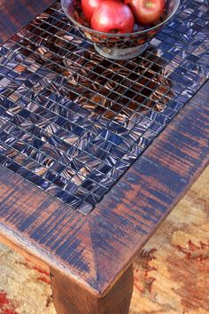 """Coffee Table, Tile Mosaic, Reclaimed Wood, Rustic Contemporary, """"Chocolate Flame"""" , Chocolate Brown Finish - Handmade. $460.00, via Etsy."""
