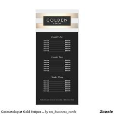 Cosmetologist Gold Stripes Hair Salon a Price Menu Rack Card Template