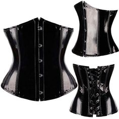 FLORAT Ladies Slimming Corsets And Bustiers Sexy PVC Lingerie Black Body Shaper Waist Trainer Corset Steampunk Hot Underbust Top