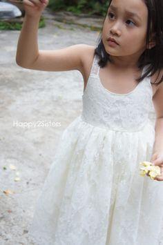 Ivory Flower girl dress, Lace flower girl dress, Rustic flower girl dress, Beach flower girl dress, Toddler Lace Dress, Boho Girl Dress by Happy2sisters on Etsy https://www.etsy.com/listing/236307039/ivory-flower-girl-dress-lace-flower-girl