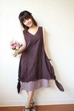 Two Layers Cotton Long Dress in Aubergine and Ash Color, Long Dress, Purple Dress, Casual Dress