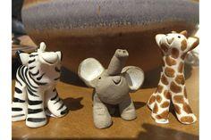 Little Guys by Cindy Pacileo.  Handcrafted ceramic zebra, elephant and giraffe from Nan Gunnett & Co in Hummelstown, PA