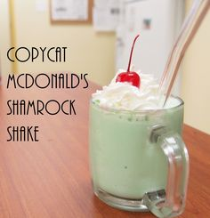 McDonald's Shamrock Shake -  A copycat recipe for Shamrock Shake that taste just like the real thing. Minty fresh, add whipped cream and a cherry to make it just right!