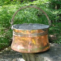 Antique French Copper Cauldron Hand Hammered 19th Century
