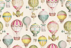 L'Envol (3079/03) - Manuel Canovas Wallpapers - A colourful hand-painted effect design with decorative old-fashion style air balloons with just a touch of Faberge in their styling. Shown in rich watercolour multi- colours on an off white background. Please request sample for true colour match. Wide width product.