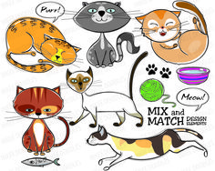 Cats Clip Art - set of hand drawn doodle sketches of cute cats running, walking, sitting, sleeping. With design elements like fish, ball of yarn, etc for Educational, Personal, COMMERCIAL USE 30013, $5.00 #cats #drawing #doodles