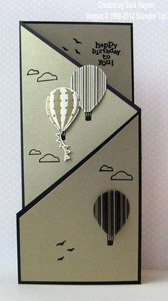 This handmade card features a cascade tri-fold base, neutral colors, die cut hot air balloons floating upwards, and it's so cute!balloon card stampin-up-onlyballoon card - could use dies to great effect here.Same fold diff paperEva Mendes launches se Tri Fold Cards, Fancy Fold Cards, Folded Cards, Masculine Birthday Cards, Birthday Cards For Men, Masculine Cards, Stampin Up Karten, Stampin Up Cards, Cool Cards