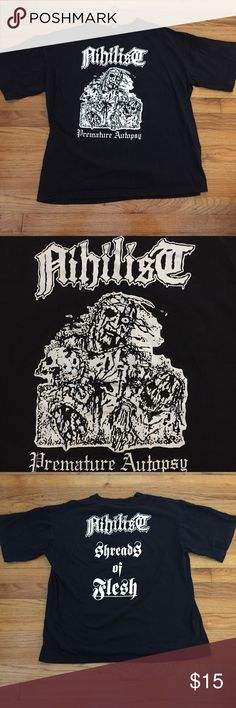 Nihilist Premature Autopsy Shirt XL From a collection of heavy metal shirts. (1990's-2000's)  Vintage condition. Fadding, lettering is cracked. May contain small holes and/or spots. Please see pictures for details.  Size XL Shirts