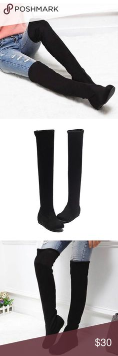 Black faux suede thigh high boots EUC pull on 6 The role over to knee length or can be worn as thigh high. Brand tag for exposure these were originally $80 Aldo Shoes Over the Knee Boots