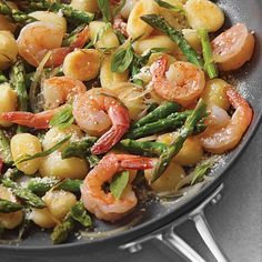 Ready in 30 minutes, Skillet Gnocchi with Shrimp & Asparagus is one of our most popular quick dinner recipes.