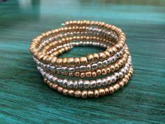 Hey, I found this really awesome Etsy listing at https://www.etsy.com/listing/277047932/silver-gold-beaded-bracelet-gold-silver