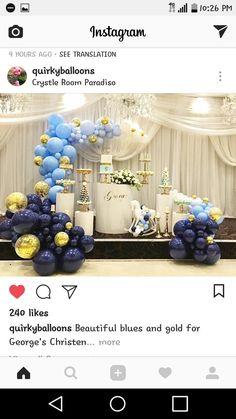 Blue, gold balloon decor