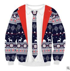 UGLY CHRISTMAS XMAS SWEATER Red Santa Elf Novelty Women Men Funny Sweatshirt 91a1f15f6