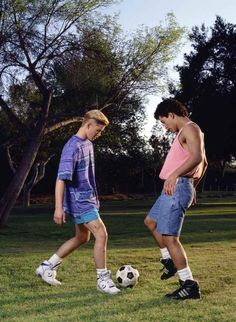 A friendly one-on-one soccer match between Zack Morris (Mark-Paul Gosselaar) and A. A friendly one-on-one soccer match between Zack Morris (Mark-Paul Gosselaar) and A. Mark Paul Gosselaar, Zack Morris, Soccer Guys, Soccer Match, Super Short Shorts, Mario, The Future Movie, Beautiful Female Celebrities, Saved By The Bell
