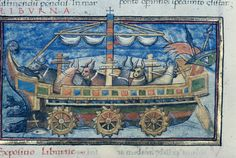 XVth century miniature of an ox-powered paddle wheel boat from the 4th century Roman military treatise De Rebus Bellici...